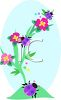 Beetles Crawling on a Flowering Plant clipart