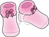 Pink Knitted Baby Booties clipart