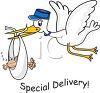 Stork Bringing Home Baby with Special Delivery Text clipart