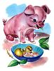 Baby Piglet and a Chick clipart