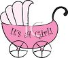 Pink Baby Carriage with It's a Girl Text clipart