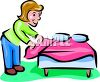 Woman Making a Bed clipart