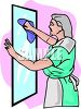 Maid Cleaning a Mirror clipart