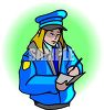 Meter Maid Writing in a Ticket Book clipart
