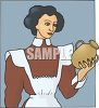 Vintage Housekeeper Holding a Base clipart