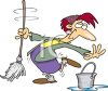 Cartoon of a Happy Maid Dancing with a Mop clipart