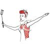 Retro Housewife Holding a Spatula clipart