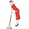 Retro Housewife Mopping clipart