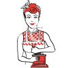 Retro Housewife Grinding Coffee clipart