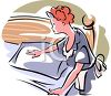 Housekeeper Making the Bed Plumping the Pillows clipart