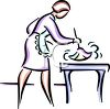 Line Drawing of a Woman Dusting clipart