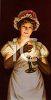 Vintage Maid Holding a Candle in the Dark clipart