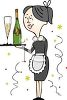 Maid Serving Champagne for a Celebration clipart
