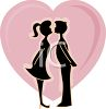 Silhouette of a Young Couple Kissing  clipart