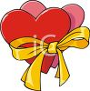 Hearts Tied with a Ribbon clipart