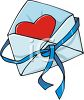 Heart Shaped Valentine in an Envelope clipart