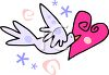 Dove Carrying a Heart clipart