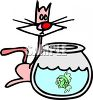 Cartoon of a Cat Looking Into a Fishbowl clipart