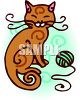 Kitty with a Ball of Yarn clipart