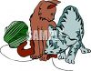 Cats Playing with a Ball of Yarn clipart