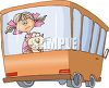 Little Girl and Her Cat on a Bus clipart