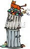 Cat on Top of Garbage Cans clipart