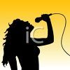 Silhouette of a Woman Singing Into a Microphone clipart