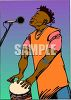 African Man Playing a Djembe Drum and Singing clipart