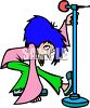Cartoon Rock Singer with Blue Hair clipart