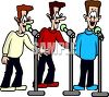 Cartoon of Three Men Singing Harmony clipart