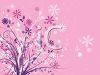 Pink Background with Flowers and Leaves clipart