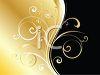 Flourishes and Swirls in Gold on a Black Background clipart