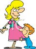 Cartoon of a Boy Hugging His Pregnant Mother clipart