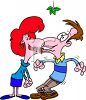 Woman Kissing a Man Under the Mistletoe clipart