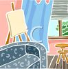 Livingroom with an Easel clipart
