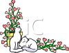 White Cats and Heart Shaped Flowers clipart