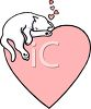 Kitten Asleep on a Heart clipart