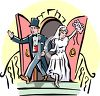 Bride and Groom Leaving the Church clipart