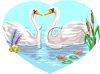Swans on a Lake clipart