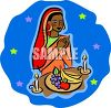 East Indian Woman Praying Before a Meal clipart