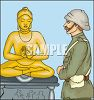 English Soldier Looking at a Gold Buddha clipart