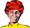 Smiling Middle Eastern Man Wearing a Turban clipart