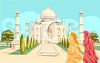 Indian Women Outside the Taj Mahal clipart