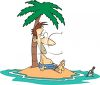 Man on a Deserted Island Looking at a Message in a Bottle clipart
