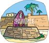 Middle Eastern Woman Getting Water from a Community Well clipart