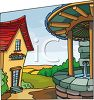 Community Well in a Village clipart