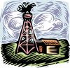 Oil Well Spewing Above a Farmhouse clipart