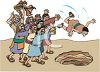 Angry Mob of Christians Throwing a Man Into a Well for Punishment clipart