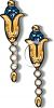 Sapphire and Opal Drop Earrings clipart