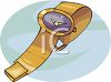 Gold Ladies Watch with a Purple Face clipart